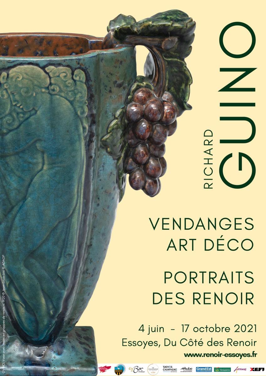 """Affiche de l'exposition """"Guino - Vendanges Art Déco - Portraits des Renoir"""""""