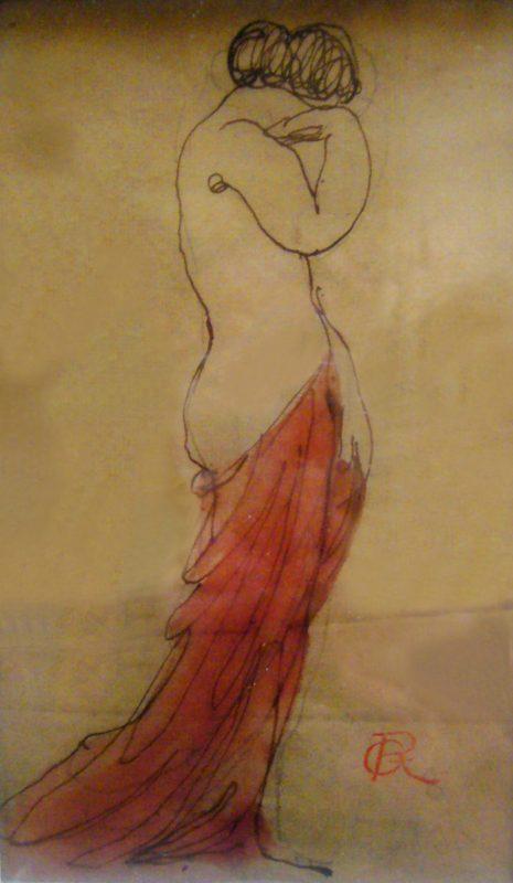 Femme à la draperie rouge - Richard Guino, c. 1912