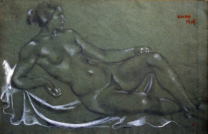 Femme allongée à la draperie - Richard Guino, 1912